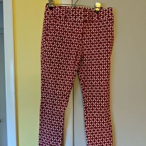 Skinny Ann Taylor Loft Red and White Pants